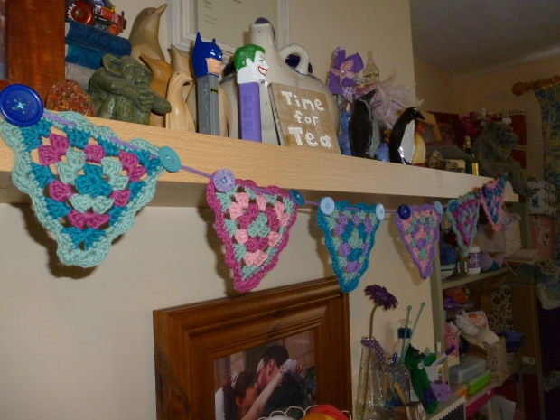 The chunky buttons help give the bunting some weigh so that it hangs nicely.