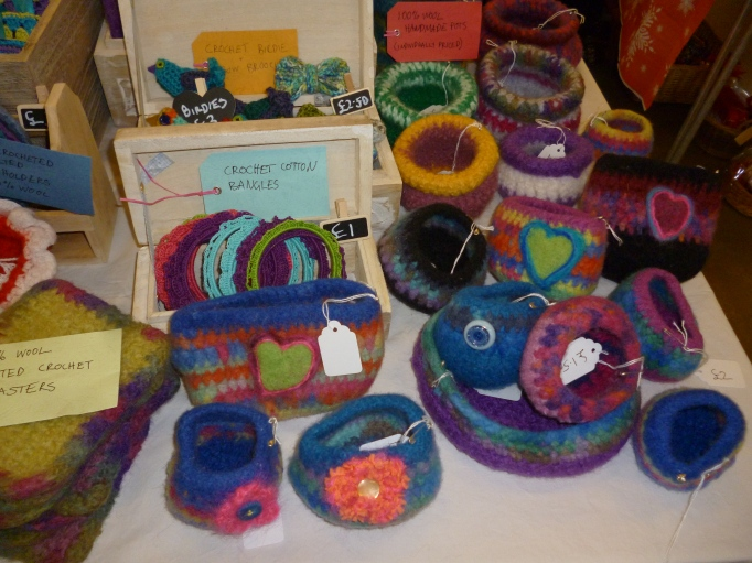 My felted pots attracted a lot of attention. I sold four and a lot of people stopped to give them a squeeze and ask how i amde them!