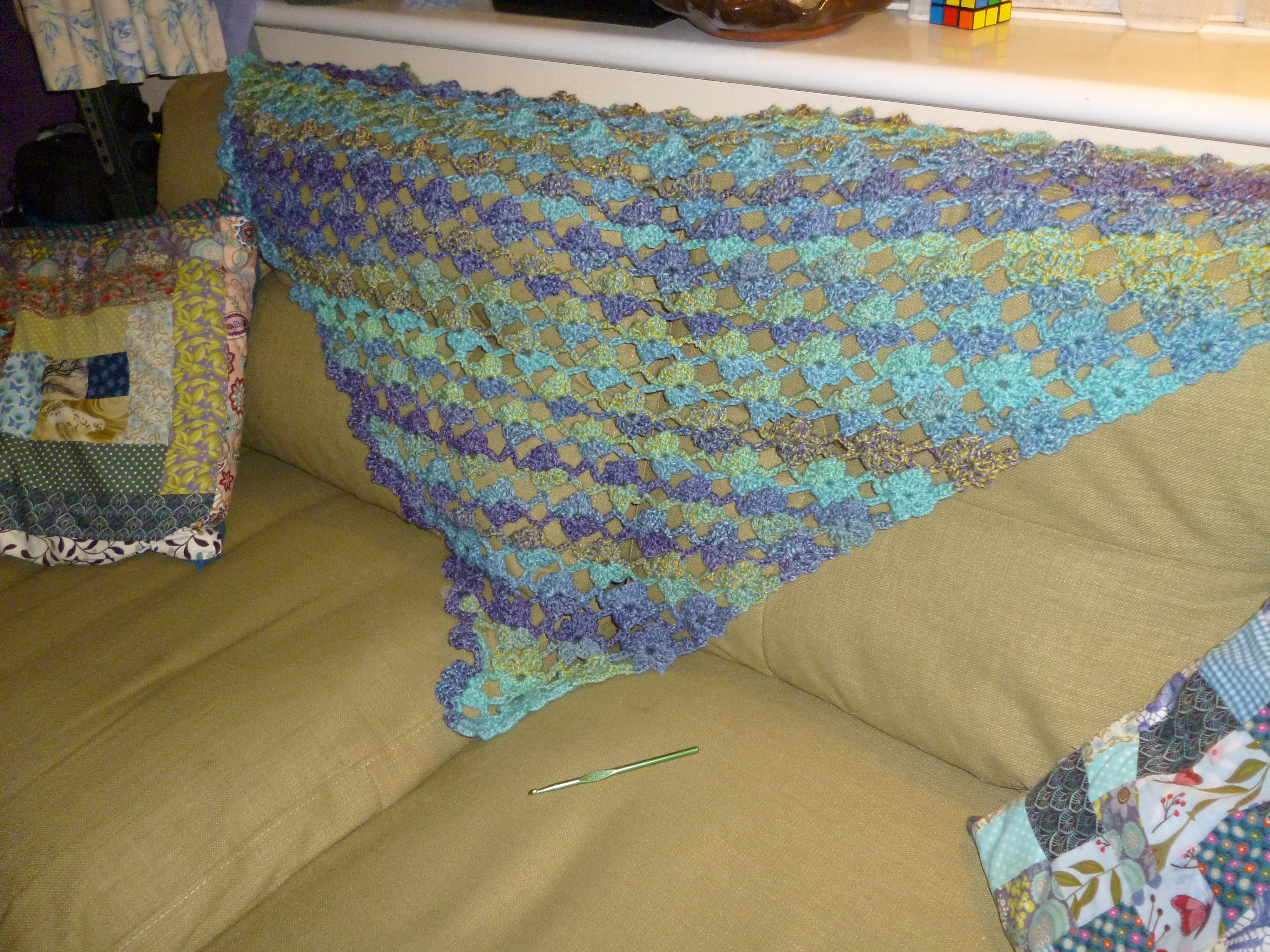 Finished crochet flower lattice shawl and more listings ...