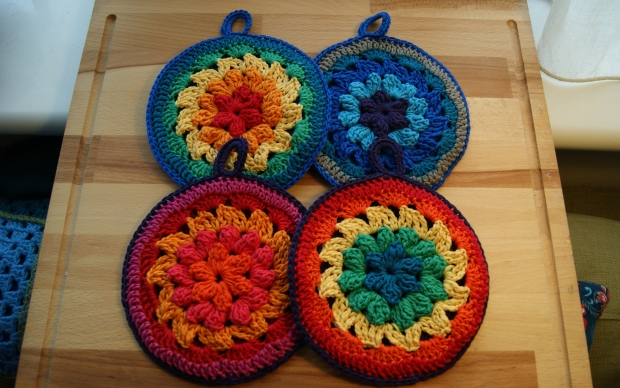 multi-colour pot holders