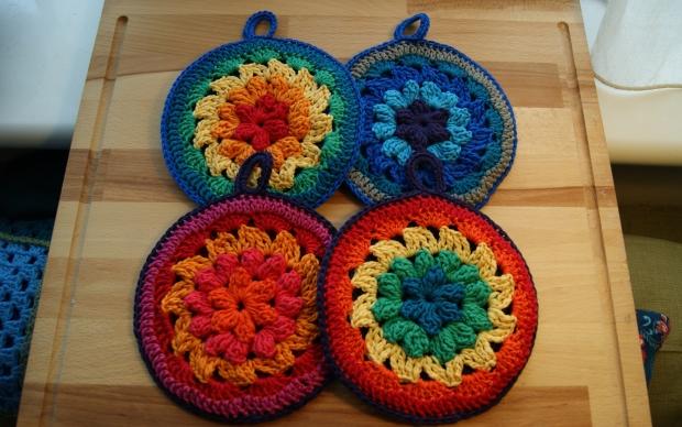 multi-colour pot holders
