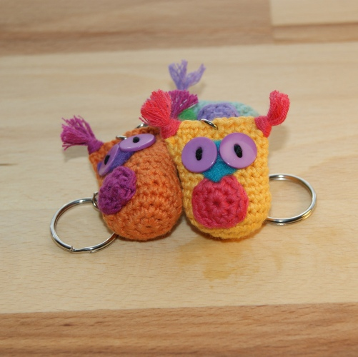 Crochet owl keyrings. Small, cute, and hard to photograph because they won't sit up and behave!