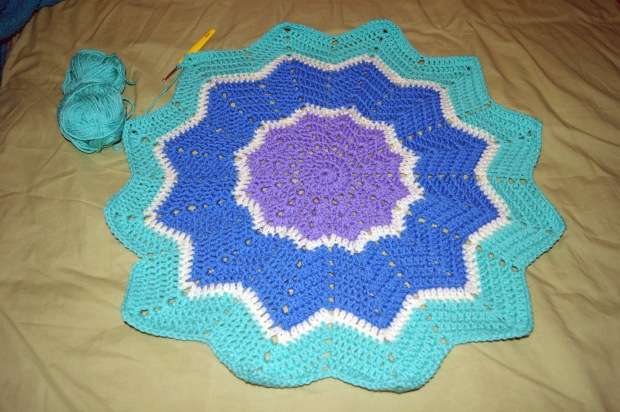 WIP: Crochet ripple blanket   worked in the round