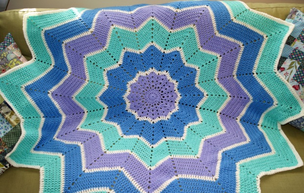 Ta-da!  My star ripple baby blanket in all its crochet glory!