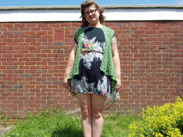 Crochet mesh waistcoat