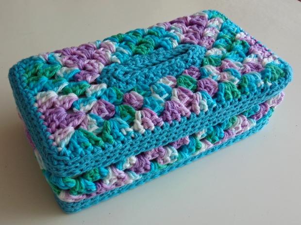 Granny panel tissue box cover