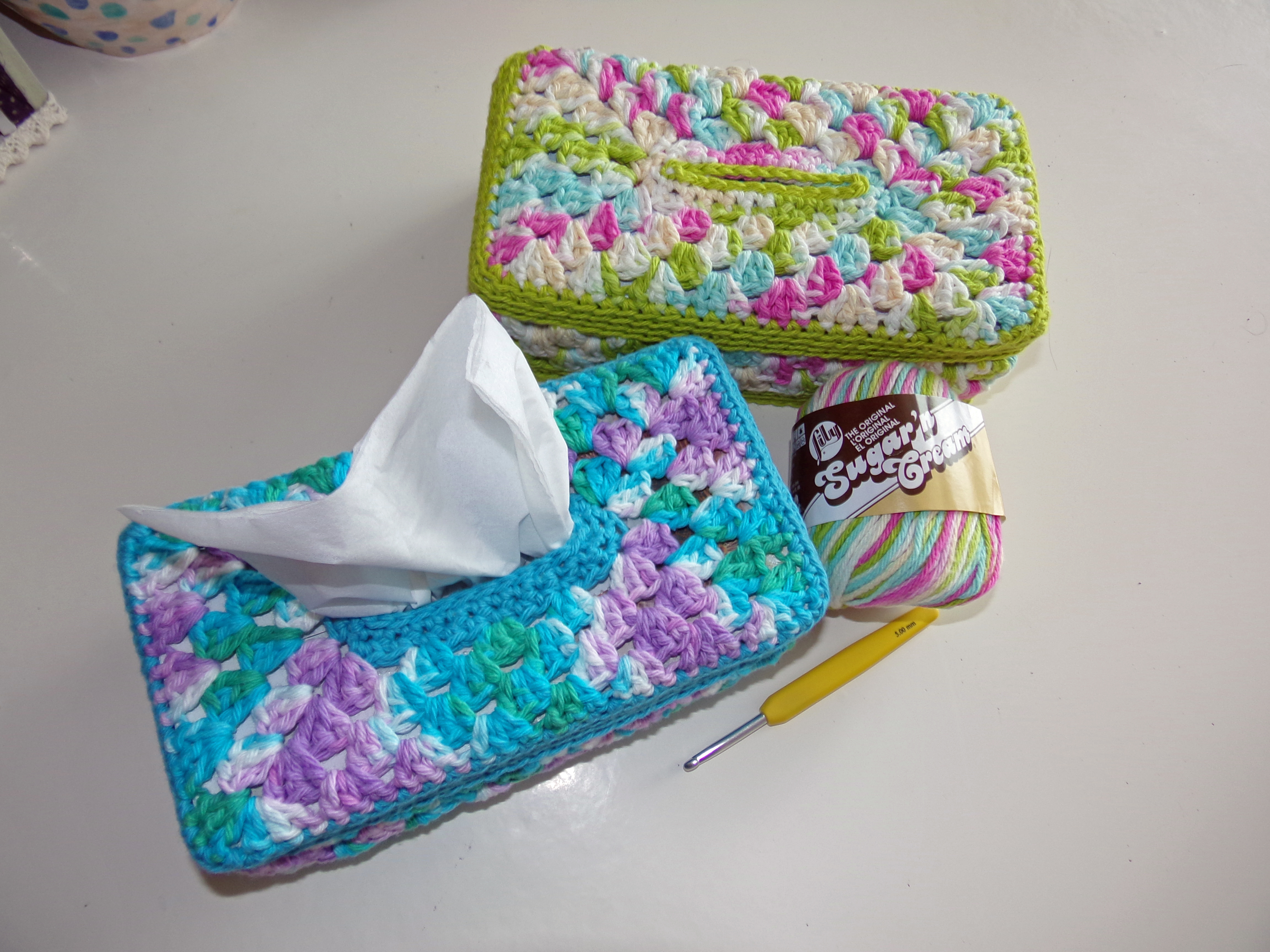 Granny Panel Tissue Box Cover – new pattern! – bamcrafts