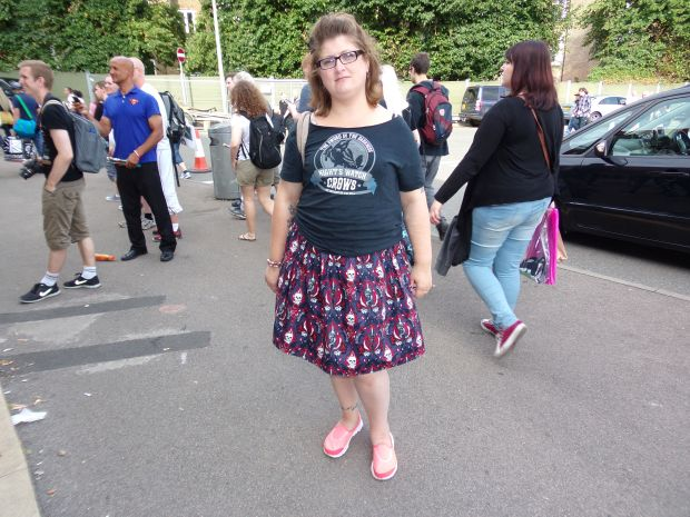Wearing skull skirt at LFCC