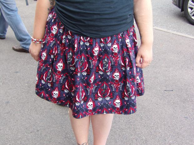 Flaming skulls skirt