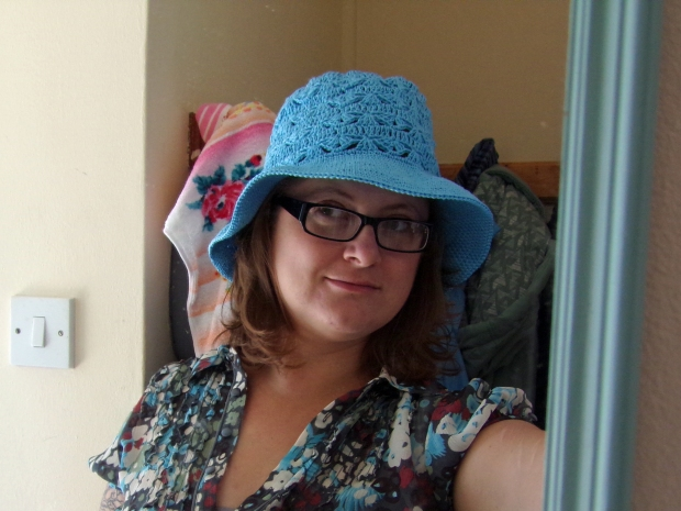 Modelling the lovely linen crochet sunhat