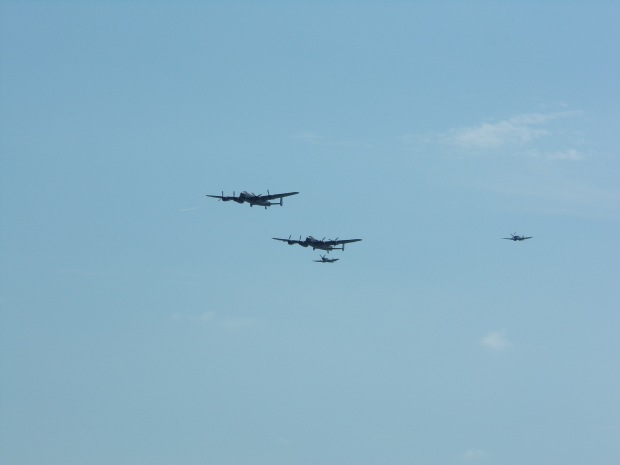 Lancaster bombers and Spitfires over Eastbourne