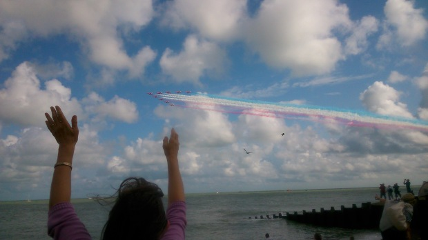 Waving at the Red Arrows