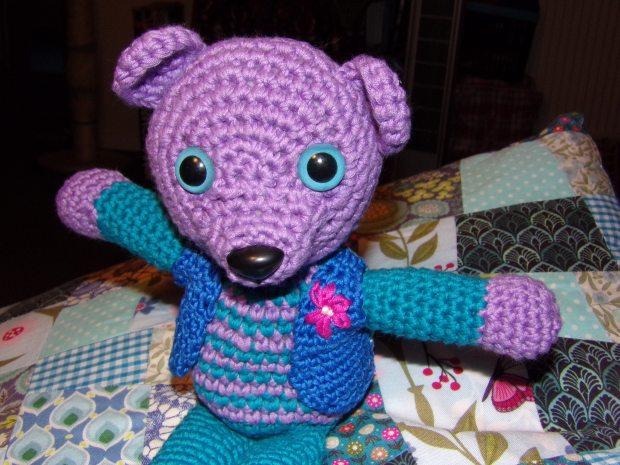 crochet bear waistcoat closeup
