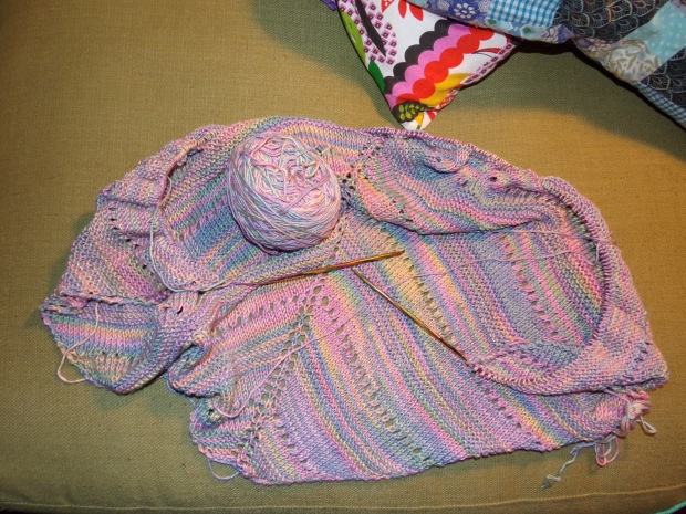 Knitted viscose shawl work in progress
