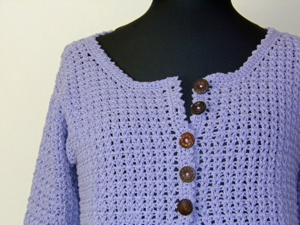 crochet cardigan closeup