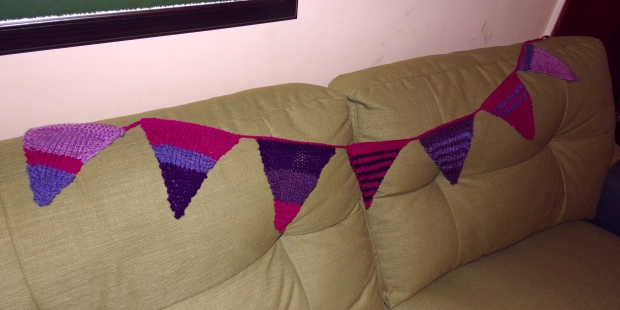 This bunting was made from odds and ends from my stash, a mixture of dk and aran as far as I could tell!