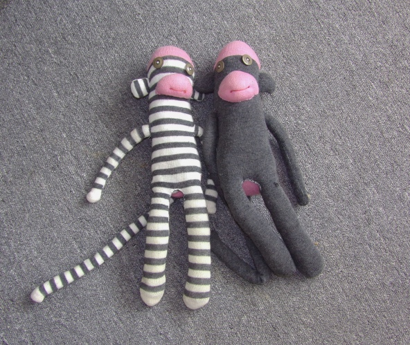 Old grey sock monkeys