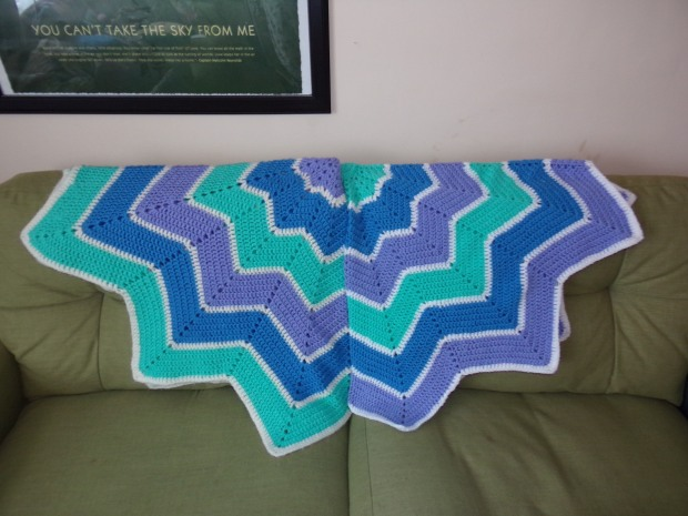 My original blanket on the left and nieceling number one's blanket on the right.