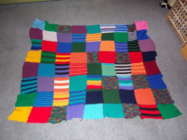 knitted patchwork blanket long term WIP