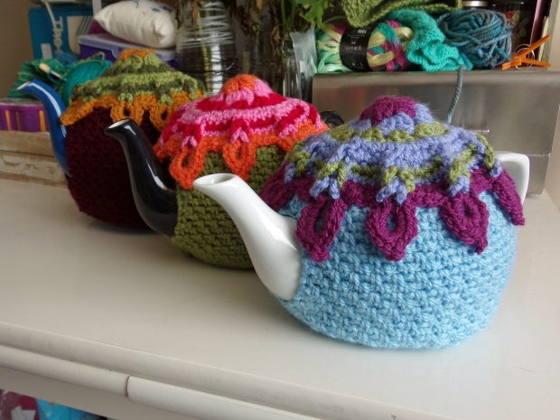 Sunburst tea cosies