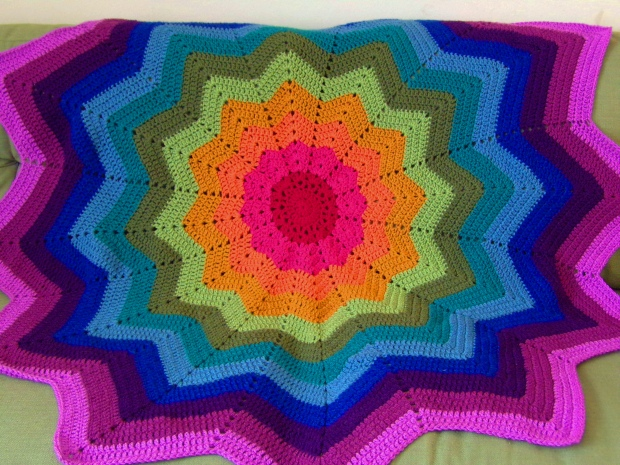 Rainbow ripple star blanket