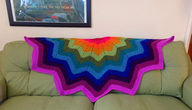 Rainbow star crochet blanket