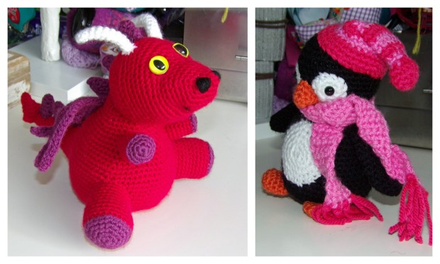 amigurumi dragon and penguin