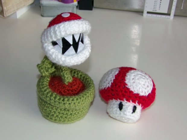 Piranha plant and Mario mushroom
