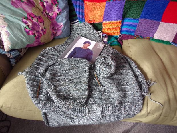 Mr BAM's big grey jumper WIP