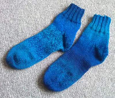 One of the first free patterns I tried from Ravelry - some socks in DK
