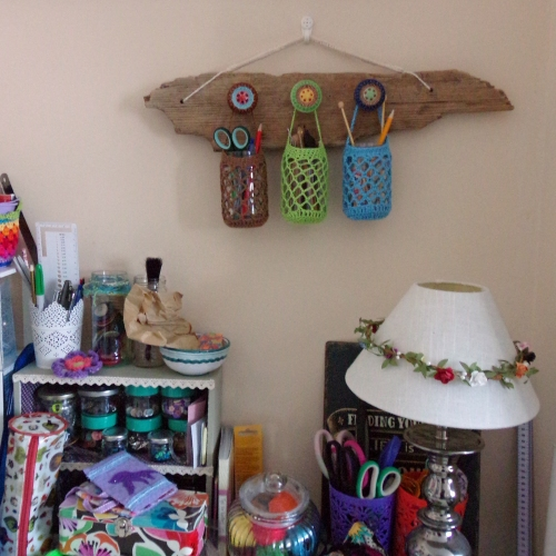 Crochet, driftwood and jam jar organiser