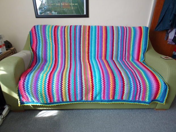Granny Stripe blanket on sofa