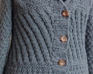 Grey cabled jacket detail