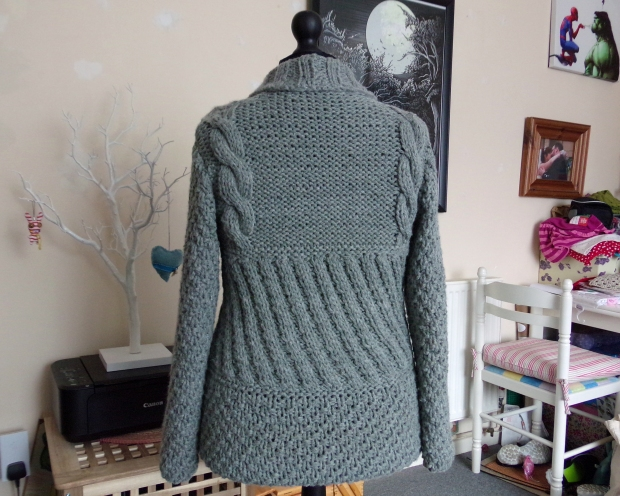 Back of cabled cardigan
