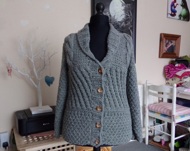 Grey cabled cardigan jacket