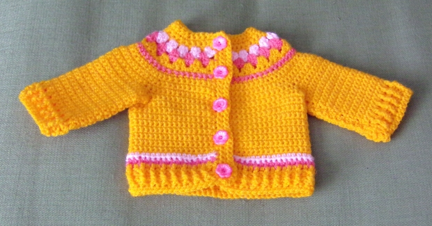 Sunflower yellow crochet baby cardigan