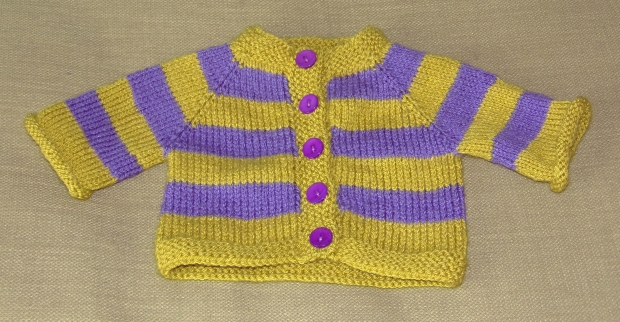 Green and purple baby cardigan