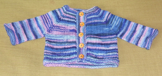Pink and blue baby cardigan in DK