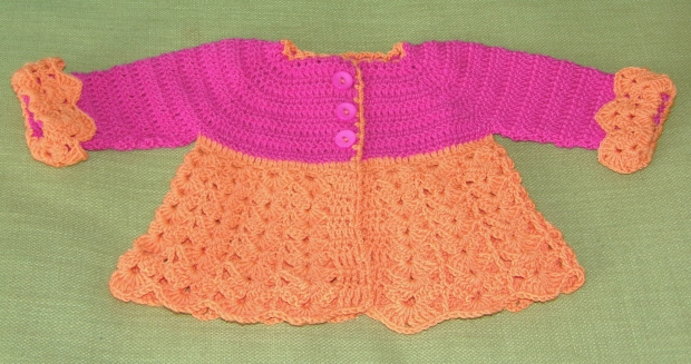 Pink and orange baby cardigan