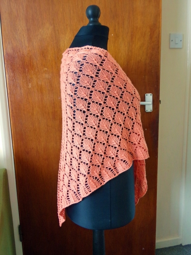 Side view lace shawl