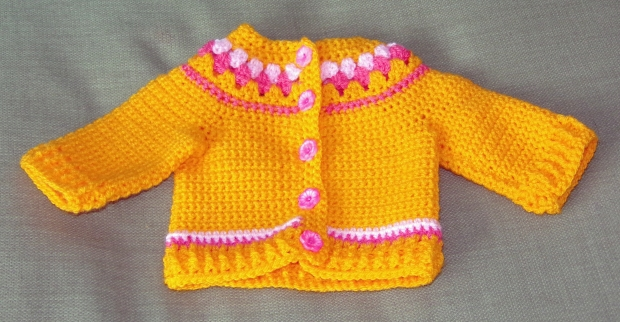 Yellow crochet baby cardigan