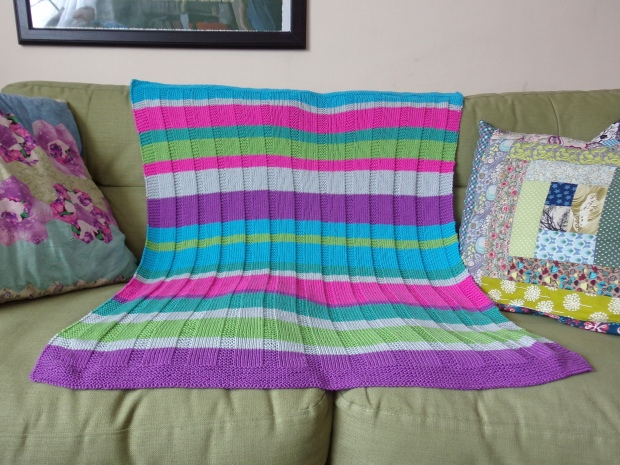 stripey knitted baby blanket