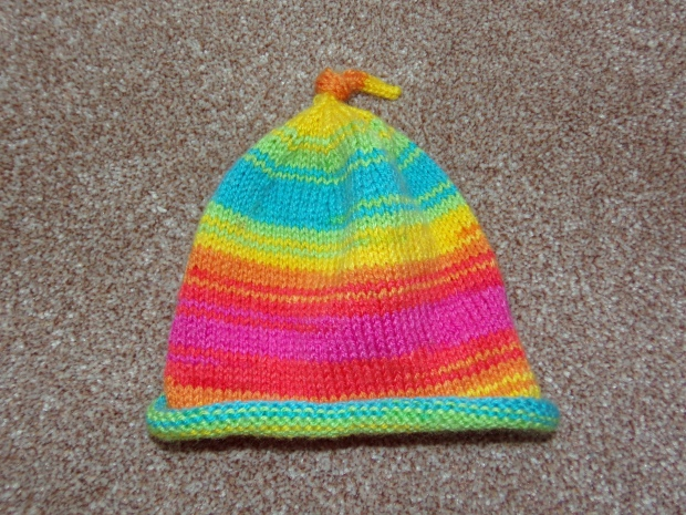 Rainbow knitted baby hat