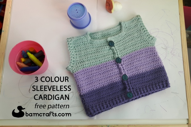 3 colour cardigan with words