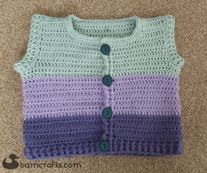 3 colour crochet toddler cardigan